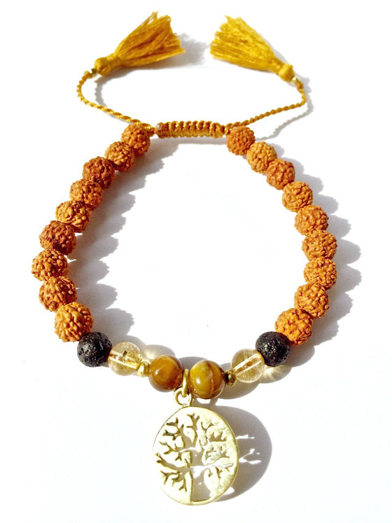 tree of life wrist mala beads yoga bracelet, rudraksha, lava, citrine, tigers eye - Heart Mala
