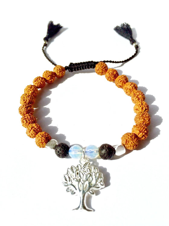 Tree of life wrist Mala Beads yoga bracelet, rudraksha, lava, moonstone