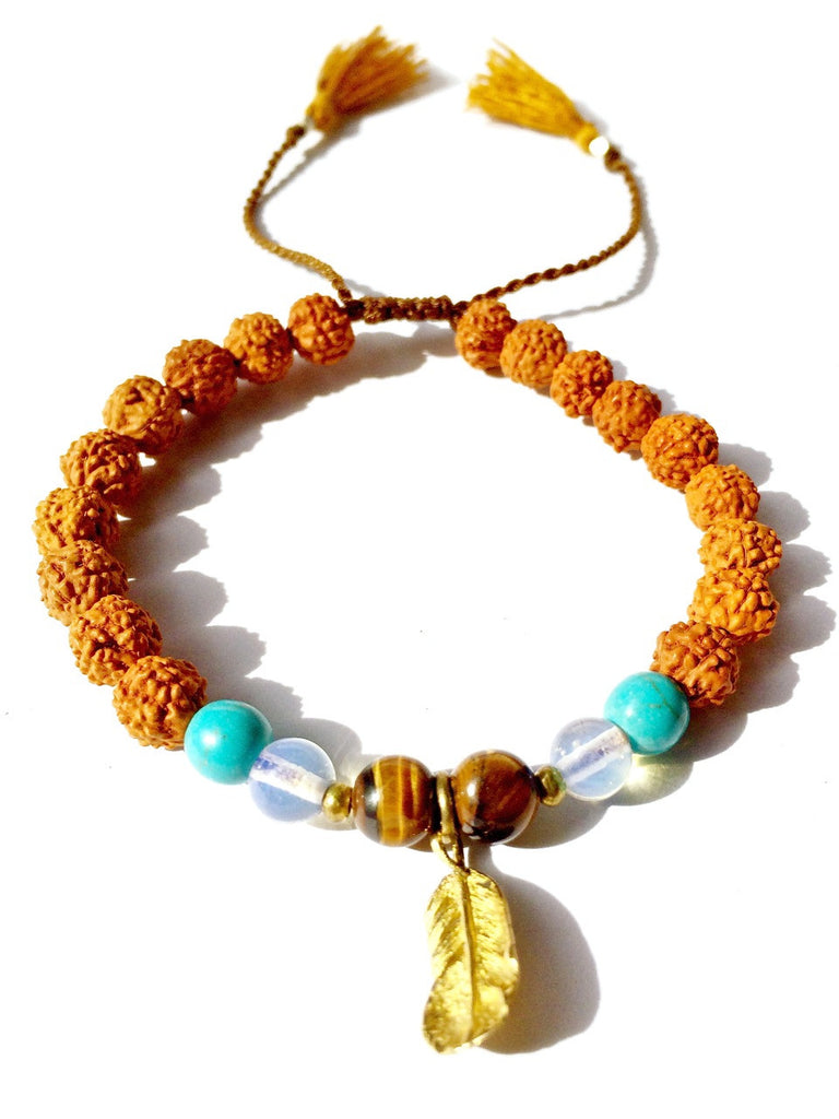 feather wrist mala, rudraksha, turquoise, quartz, tigers eye - Heart Mala