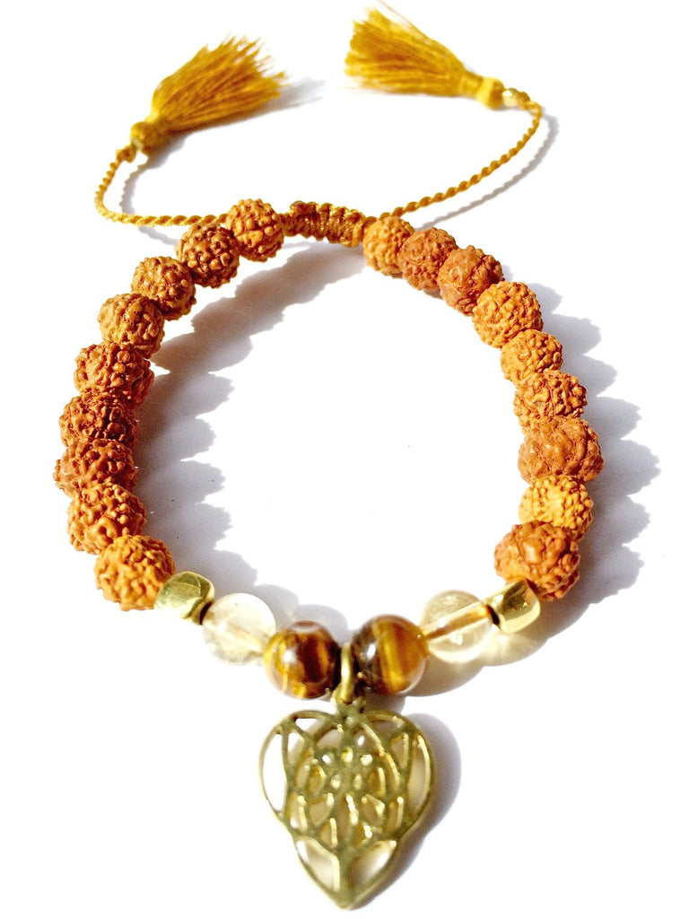 celtic heart wrist mala bracelet, rudraksha, citrine, tigers eye - Heart Mala