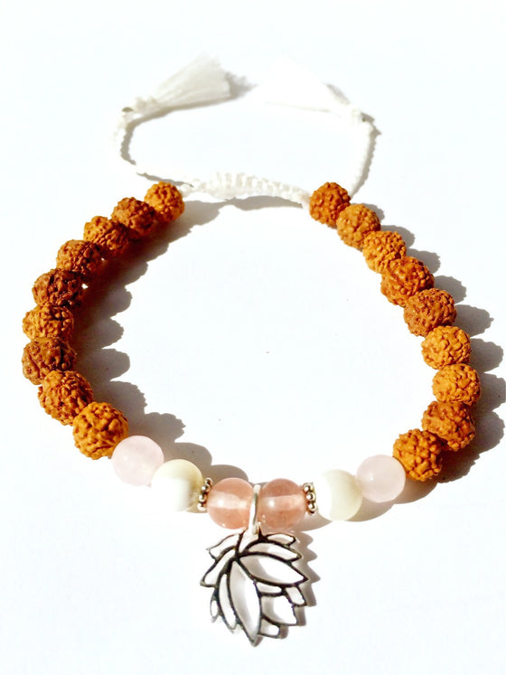 lotus wrist mala yoga bracelet, rudraksha, rose quartz, mother of pearl