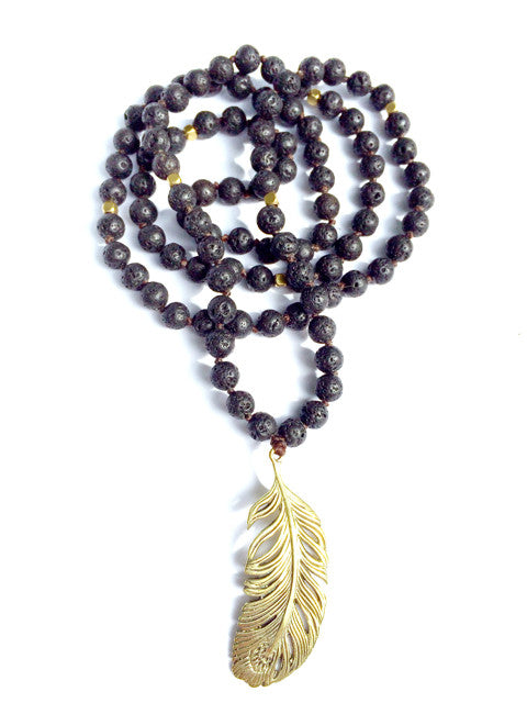 Lava Mala Prayer Beads brass Feather - Heart Mala
