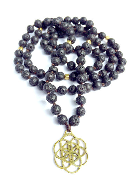 Lava Mala Prayer Beads brass Seed Of Life - Heart Mala