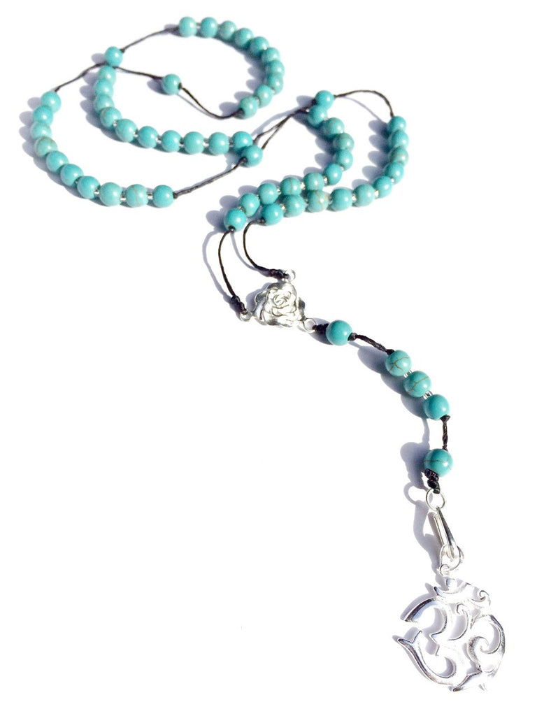 turquoise rosary beads, silver OM pendant - Heart Mala