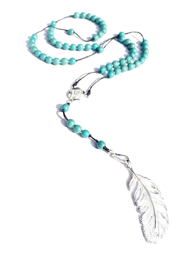 turquoise rosary beads handmade gemstone necklace with silver feather pendant