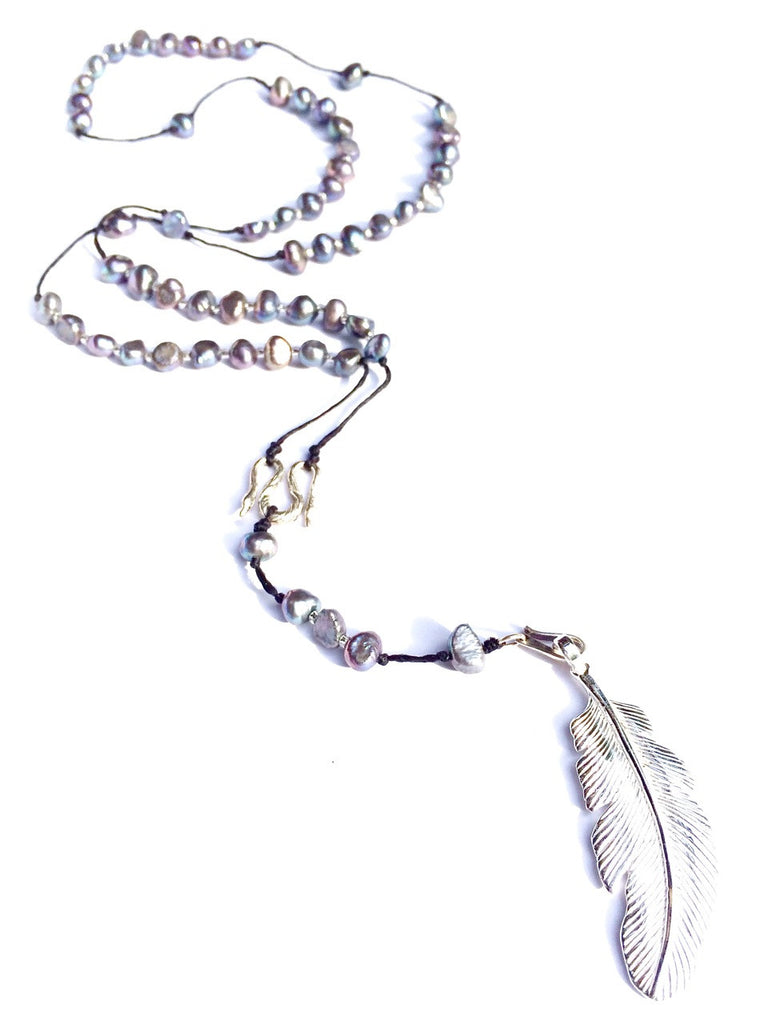silver pearl rosary beads handmade gemstone necklace with silver feather pendant