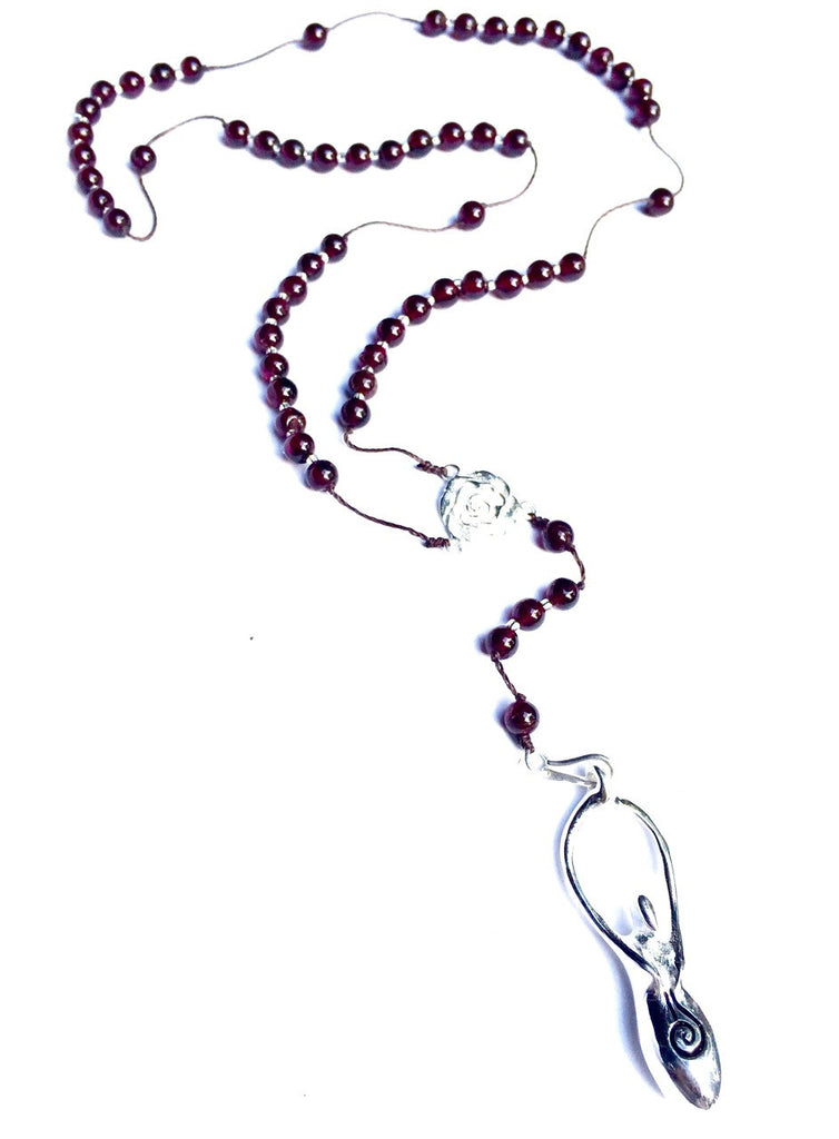 Garnet Rosary beads handmade gemstone necklace with silver fertility goddess pendant