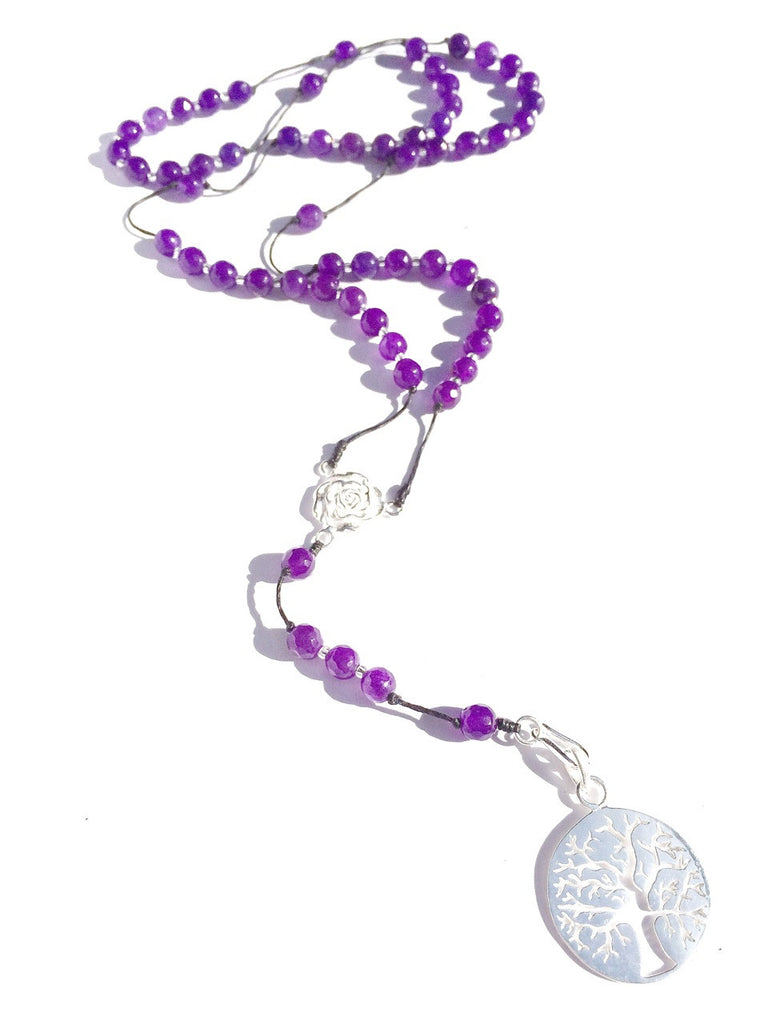 Amethyst rosary beads, silver tree of life pendant handmade gemstone necklace