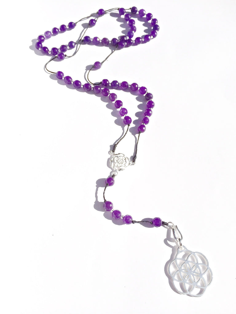 Amethyst Rosary beads, silver Seed Of Life pendant - Heart Mala Byron Bay