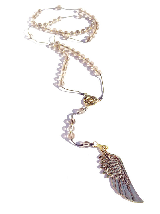 smokey quartz rosary, brass angel wing pendant handmade gemstone necklace