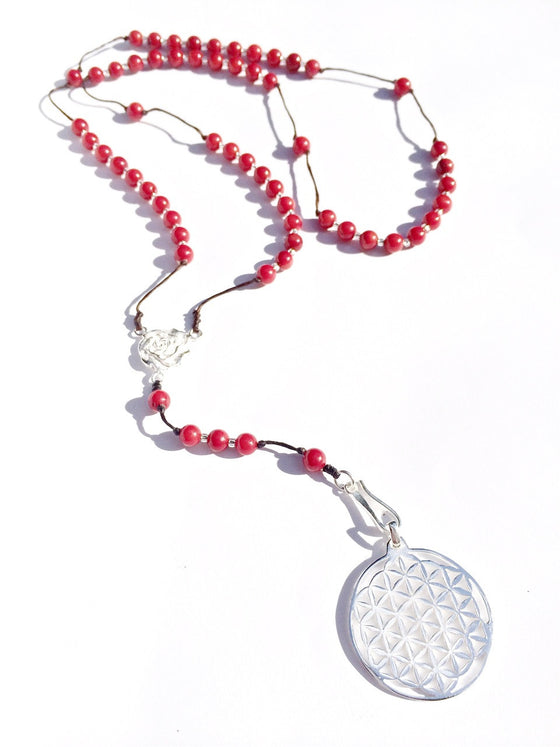 Red Coral Rosary beads, silver Flower Of Life Sacred geometry pendant