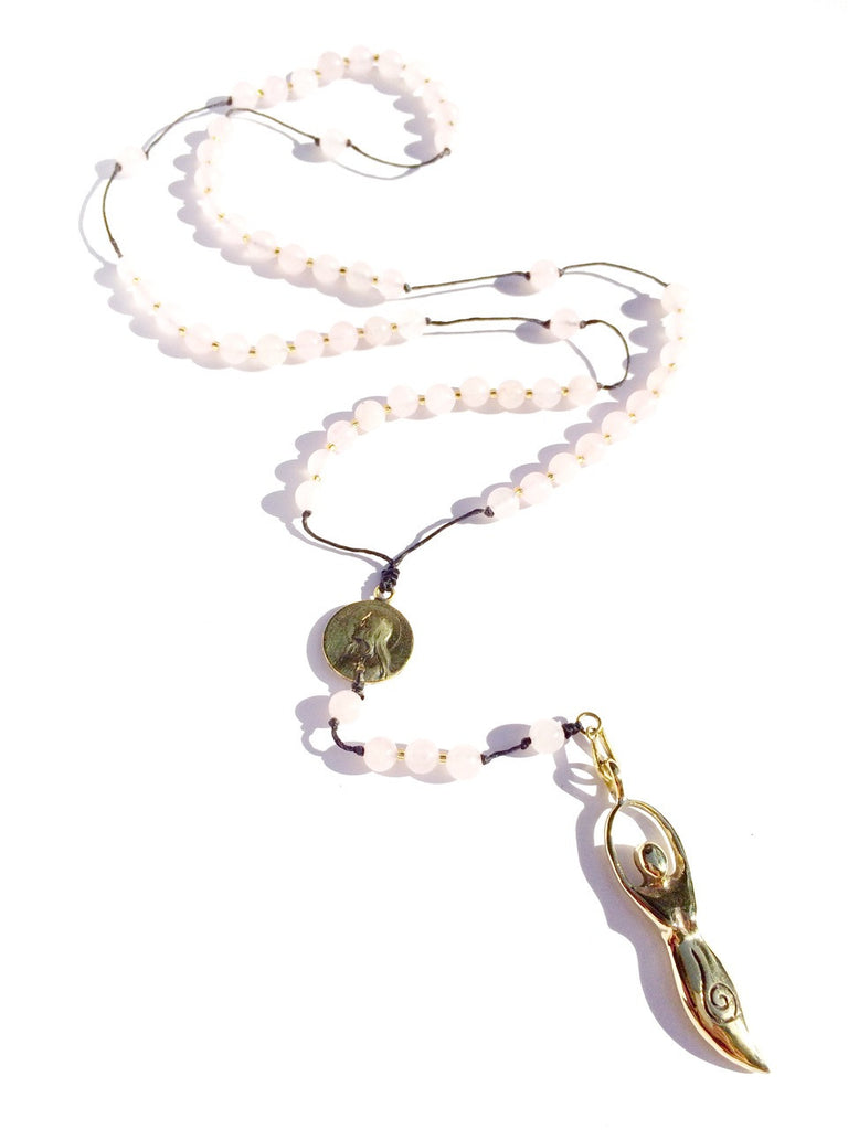 Rose Quartz Rosary Beads Necklace brass Goddess pendant gemstone jewellery