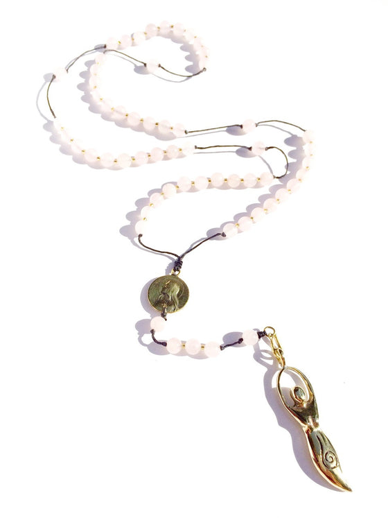 Rose Quartz Rosary Beads, brass Goddess pendant - Heart Mala Byron Bay