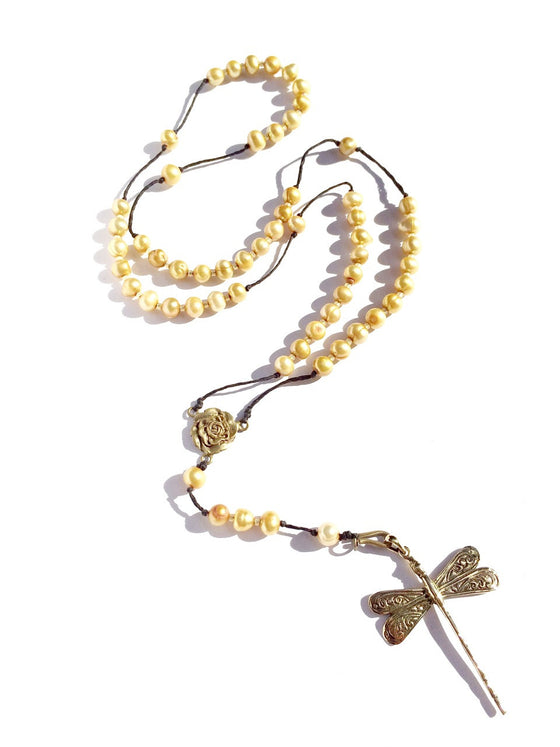 golden pearl rosary beads, brass dragonfly pendant - Heart Mala Byron Bay