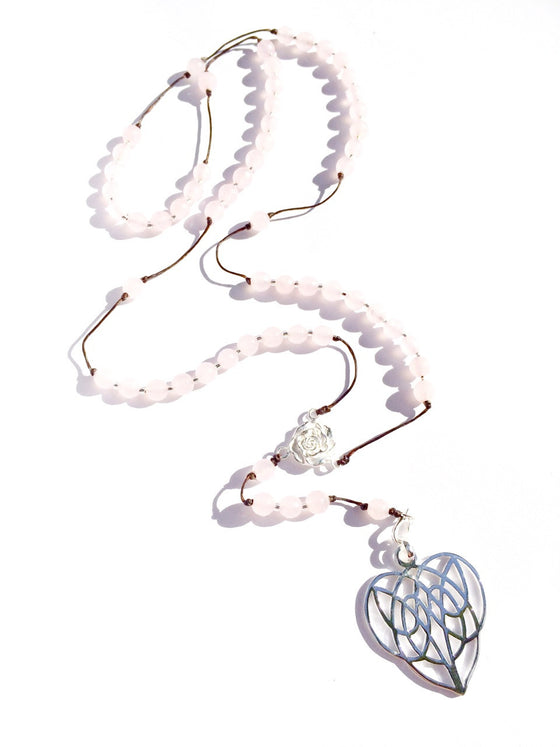 rose quartz rosary beads, silver celtic heart pendant handmade gemstone necklace