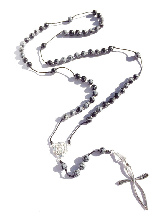 snowflake obsidian rosary beads handmade gemstone necklace with silver cross pendant