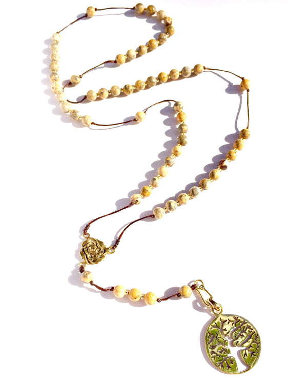 jasper rosary beads, brass tree of life pendant - Heart Mala Byron Bay