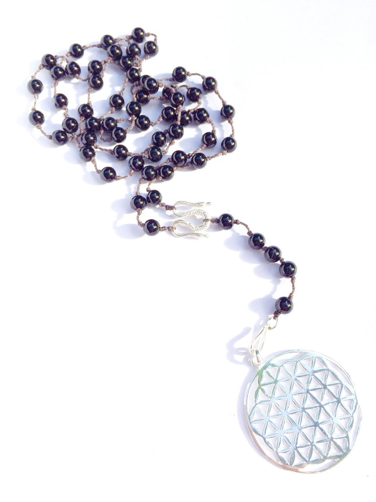 Onyx Rosary Beads necklace, Silver Flower Of Life sacred geometry pendant