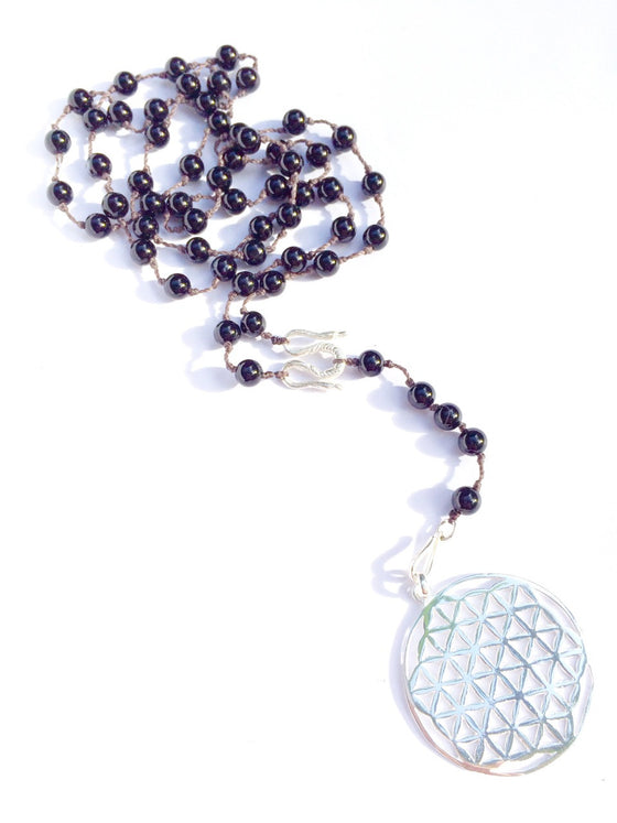 Onyx Rosary Beads, Silver Flower Of Life pendant - Heart Mala