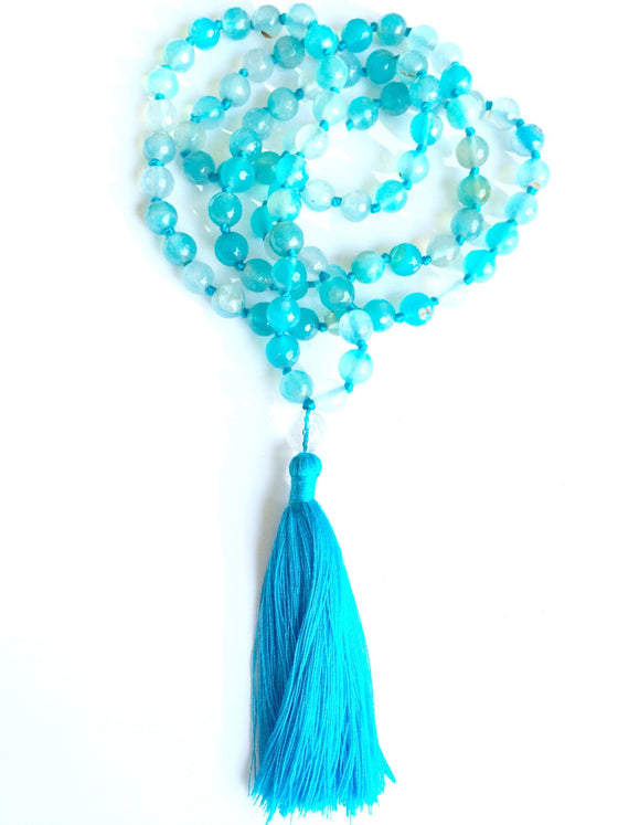 WATER ELEMENT MALA BEADS Yoga Necklace: blue agate