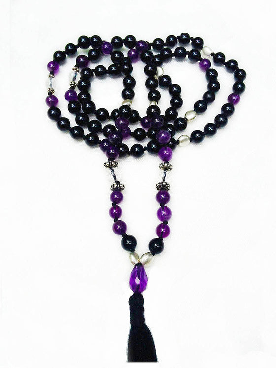 "Amethyst, Clear Quartz & Onyx Mala Prayer Beads:  ""MASTER YOUR DESTINY"" - Heart Mala Byron Bay"