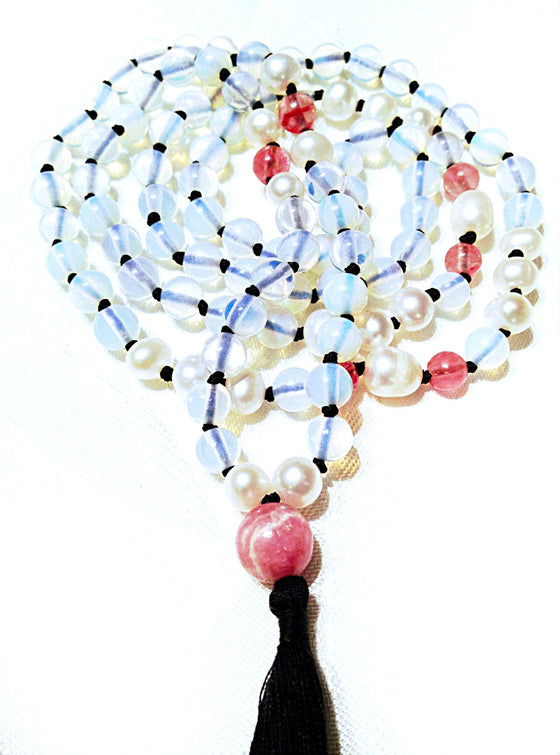 "moonstone, cherry quartz, pearl, Rhodochrosite mala: ""MOONLIGHT"" - Heart Mala Byron Bay - 1"