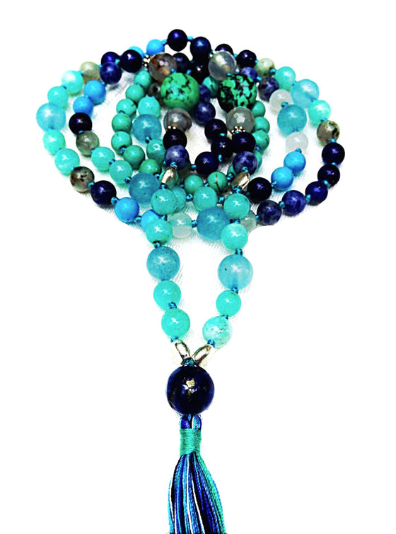 This sacred mala prayer bead necklace is handmade with loving intention from 108 healing gemstones of Lapis Lazuli, Turquoise, Amazonite, Aquamarine, Blue Agate and Clear Quartz with a beautiful Lapis Lazuli guru bead.
