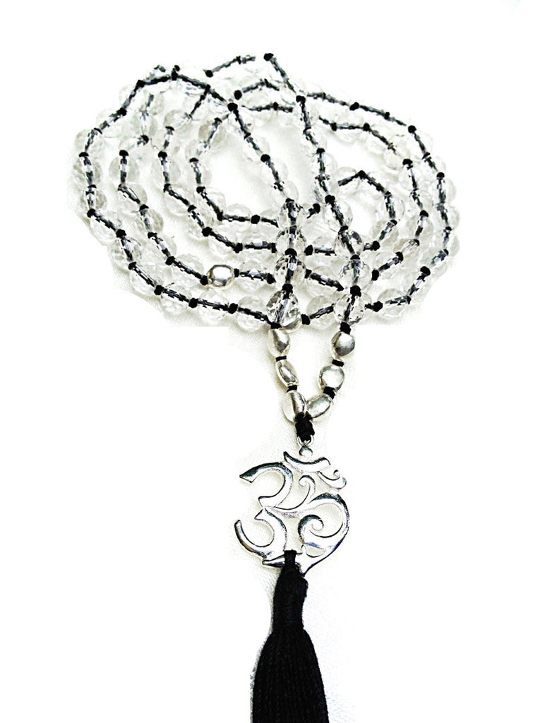 "Clear Quartz Mala prayer beads Silver ""OM"" - Heart Mala"