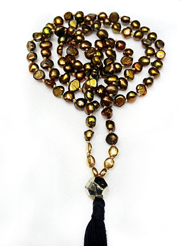 Mala prayer beads yoga necklace handmade from Silver pearls pearl & golden pyrite Mala Beads