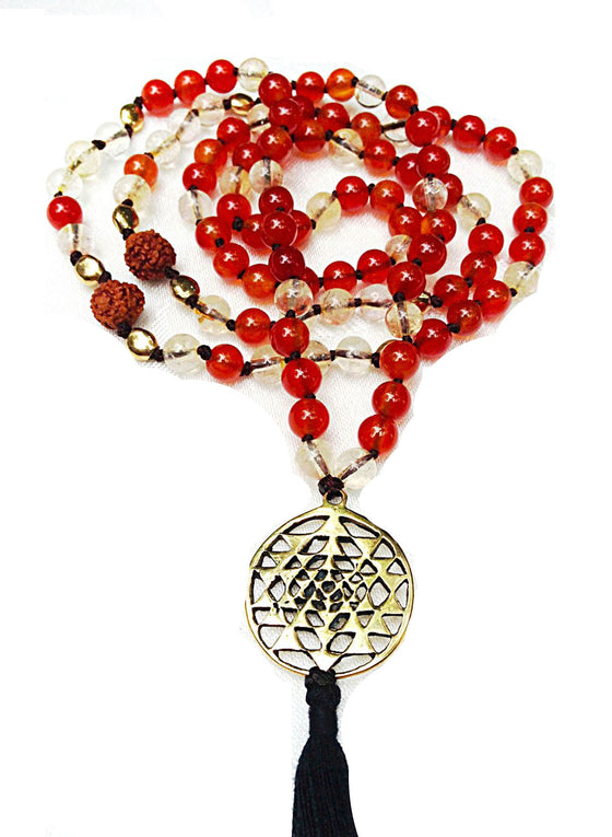 "Golden Rutilated Quartz & Carnelian Agate mala beads: ""SRI YANTRA"" - Heart Mala Byron Bay"