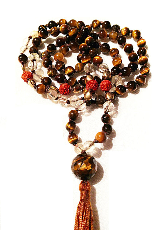 Mala prayer beads yoga necklace handmade from tigers eye & golden rutilated quartz