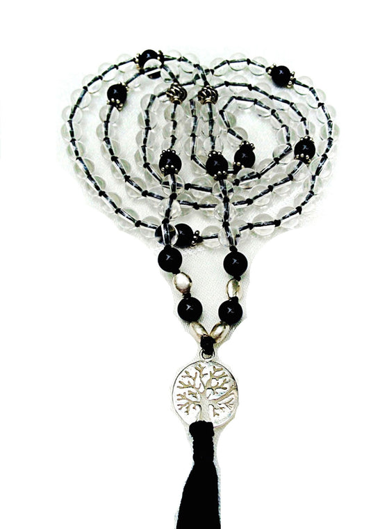 Mala prayer Beads yoga necklace handmade from clear quartz & onyx TREE OF LIFE pendant