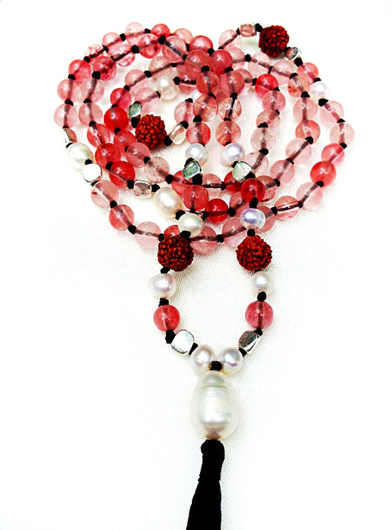 Mala prayer beads yoga necklace handmade from cherry quartz and pearls