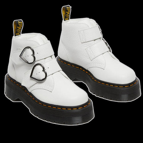 Dr Martens - White Devon Heart Buckle Boot