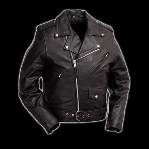 First Mfg - Black Leather Motorcycle Jacket