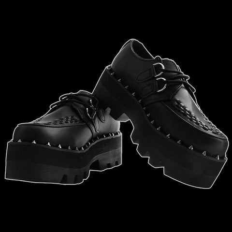 T.U.K. - Black Faux Leather Dino Lug Sole Creeper