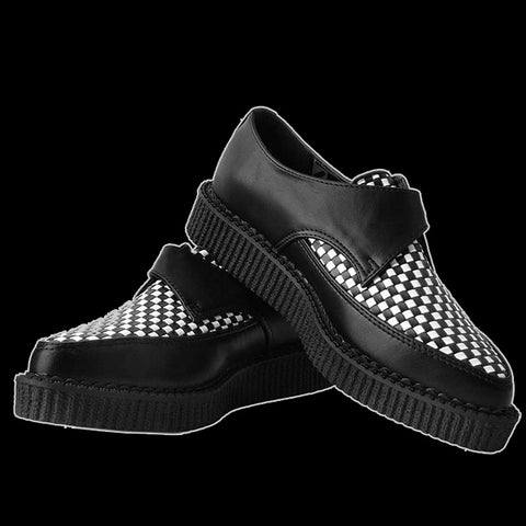 TUK - Black & White Woven Buckle Pointed Creeper