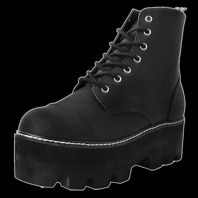 T.U.K. - Black Vegan 7-Eye Dino Lug Sole Boot