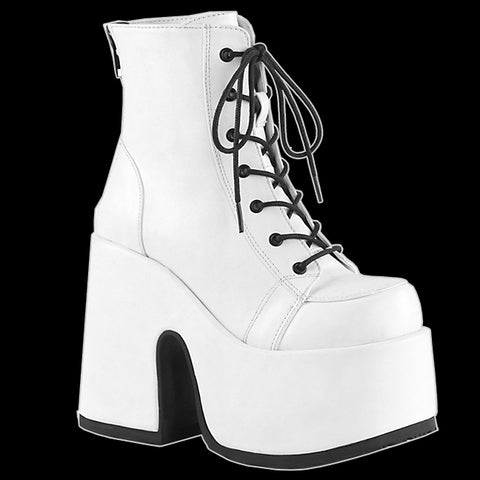 Demonia - White Faux Leather Platform Heel Boot Camel 203