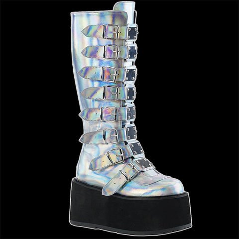 Demonia - DAMNED-318 Silver Hologram Vegan Leather