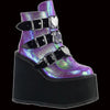 Demonia - Purple/Iridescent Heart Buckle Swing-105