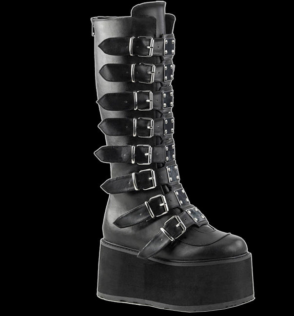 Demonia - DAMNED-318 Black Faux Leather