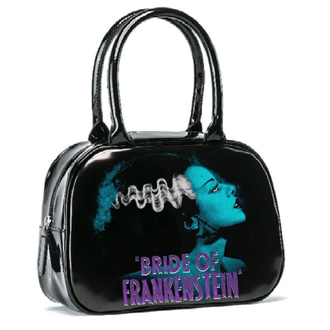 Rock Rebel - Black & Blue Universal Monsters Bride of Frankenstein Bowler Purse
