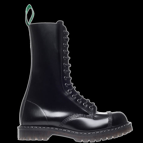 Solovair - 14 Eyelet Black Leather Steel-Toe Derby Boot