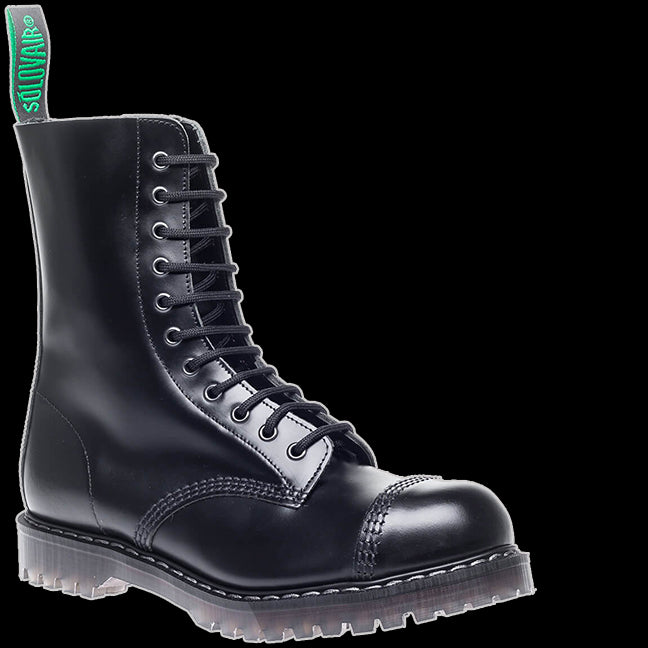 Solovair - 11 Eyelet Black Steel-Toe Derby Boot