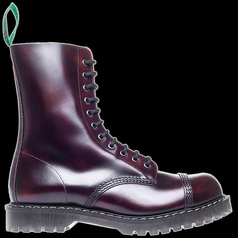 Solovair - 11 Eyelet Burgundy Rub Off Steel-Toe Derby Boot
