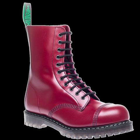 Solovair - 11 Eyelet Cherry Steel-Toe Derby Boot