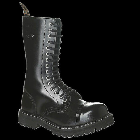 STEEL - 15 Eyelet Black Steel-Toe Boot