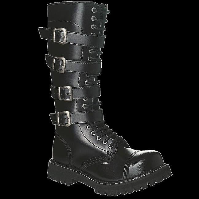 1ce89a4e7949a6 STEEL 20 Eyelet Black 4 Buckle Leather Steel Toe Boot 140/O/4P/Z/B   Vixens  and Angels