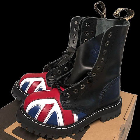 STEEL - 10 Eyelet British Flag Navy Rub Off Steel-Toe Boot